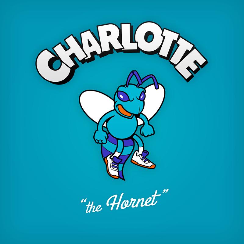 "Charlotte ""the Hornet"" logo design as cartoon character"