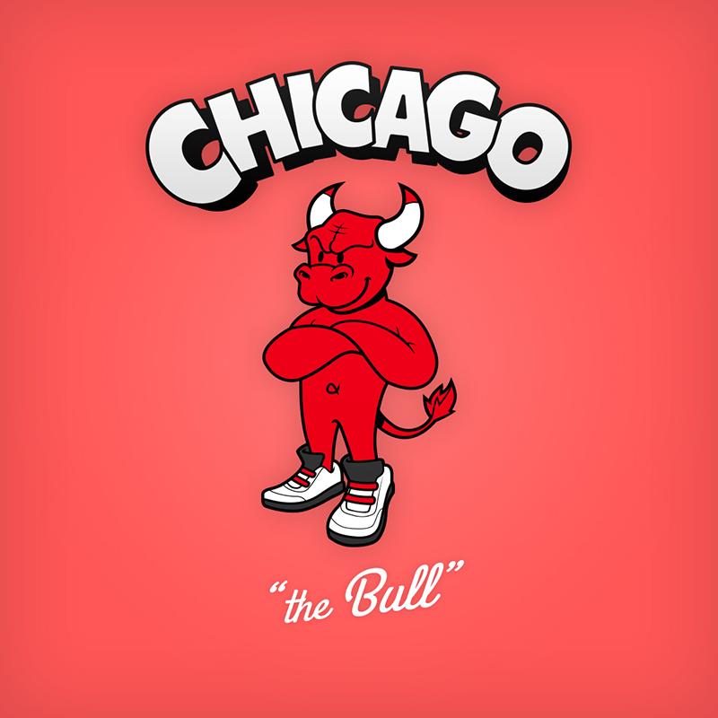 "Chicago ""the Bull"" logo design as cartoon character"