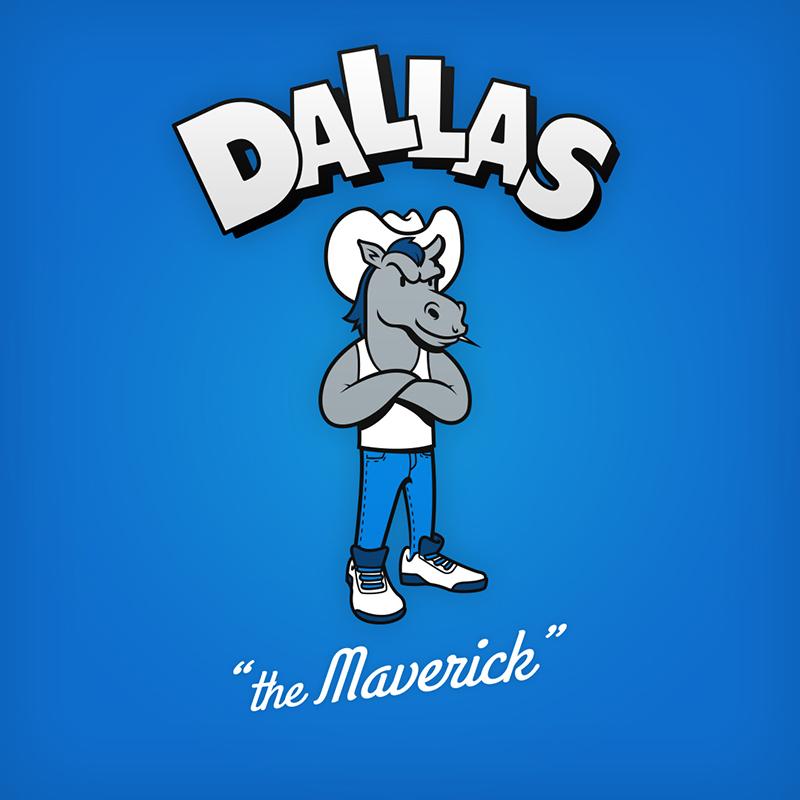 "Dallas ""the maverick"" logo design as cartoon character"