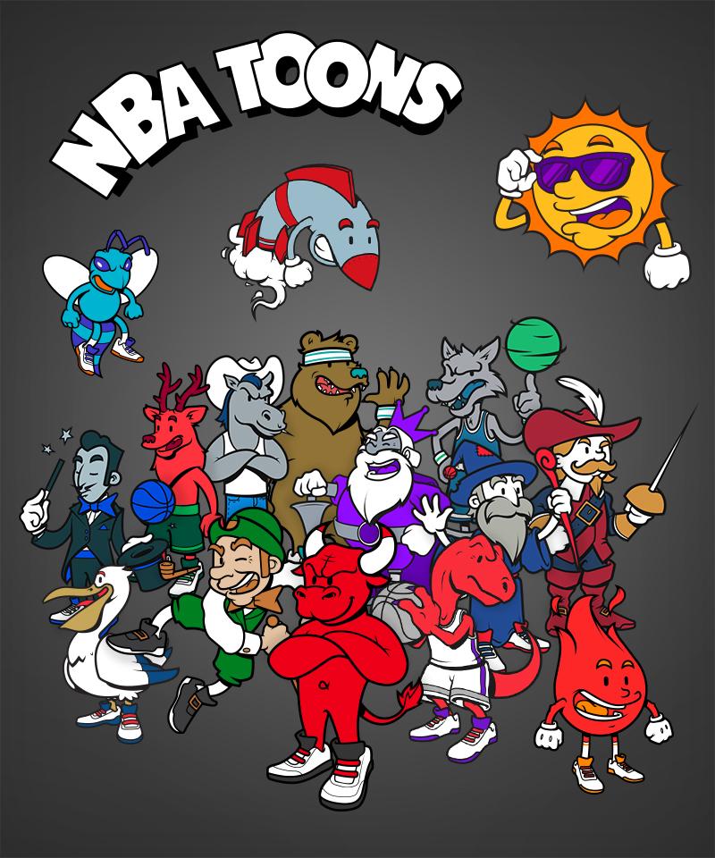 NBA logo designs as cartoon character