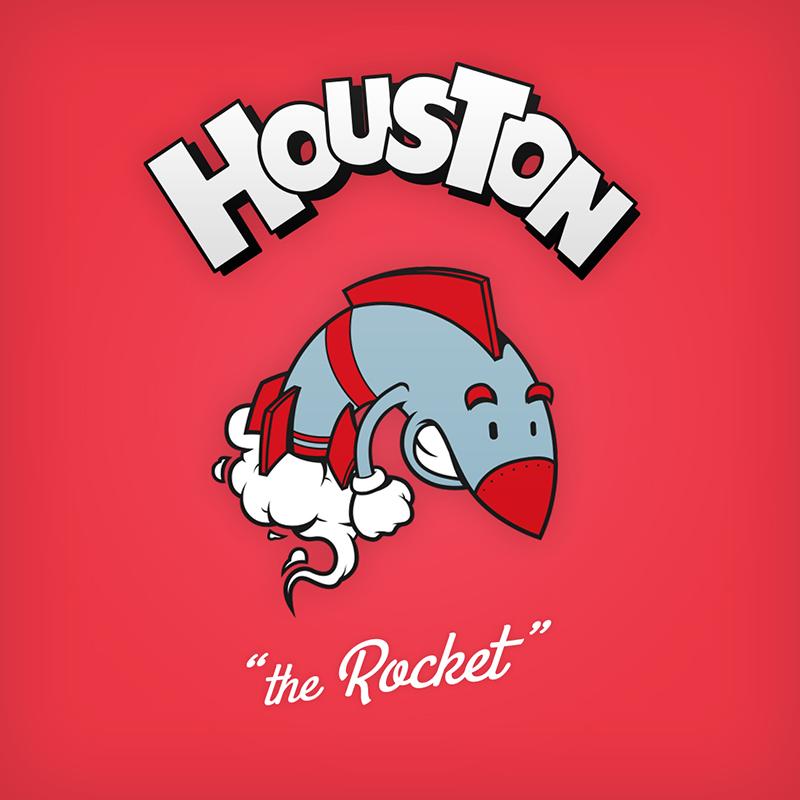 "Houston ""the Rocket"" logo design as cartoon character"