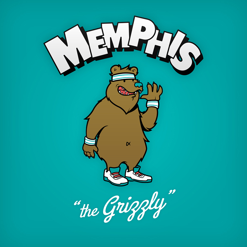 """Memphis """"the Grizzly"""" logo design as cartoon character"""