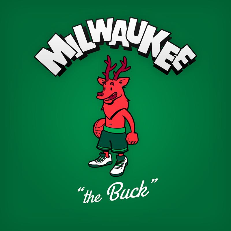 "Milwaukee ""the Buck"" logo design as cartoon character"