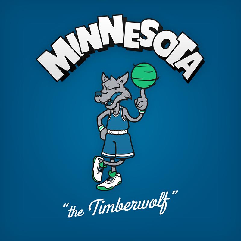 """Minnesota """"the Timberwolf"""" logo design as cartoon character"""