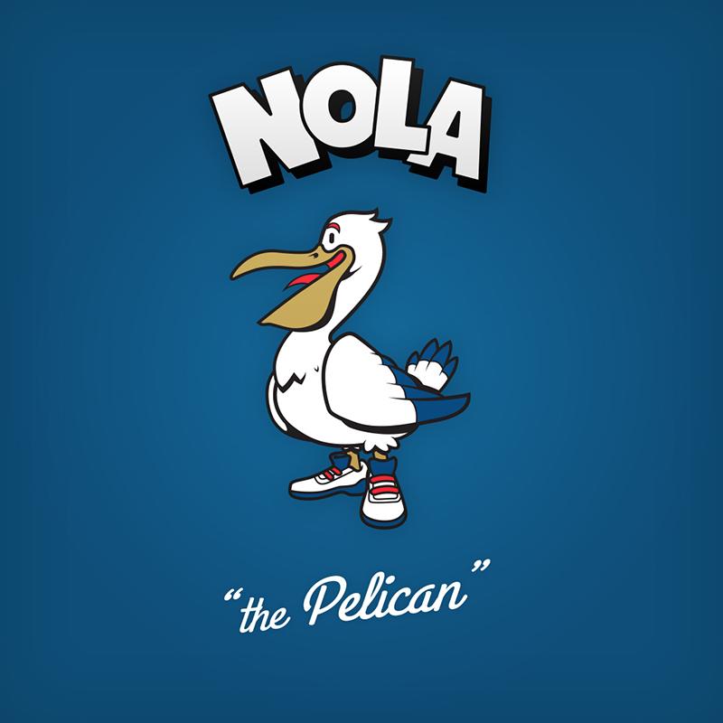 """Nola """"the pelican"""" logo design as cartoon character"""