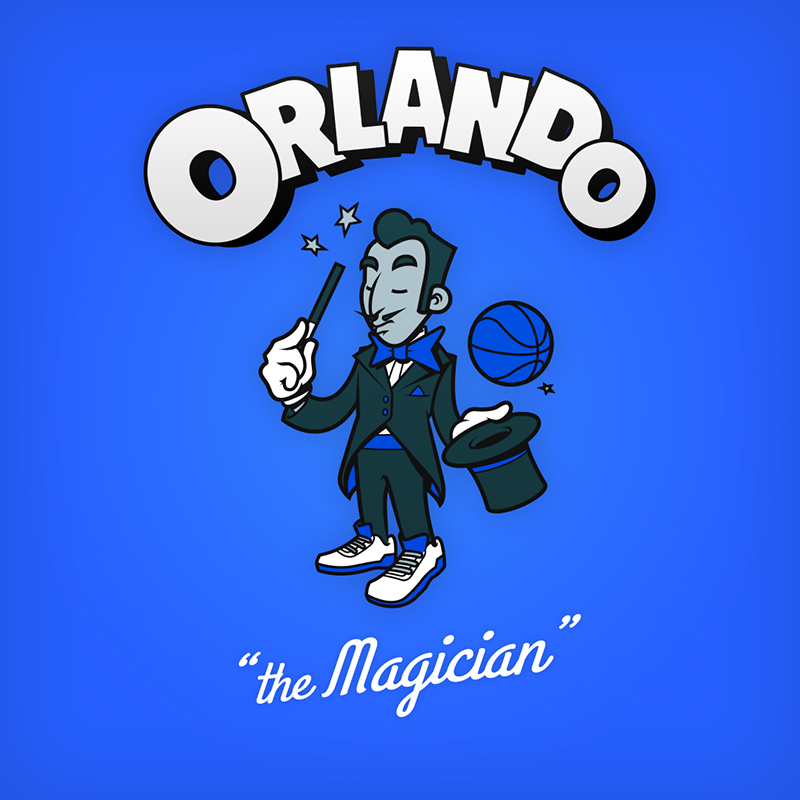 """Orlando """"the magician"""" logo design as cartoon character"""