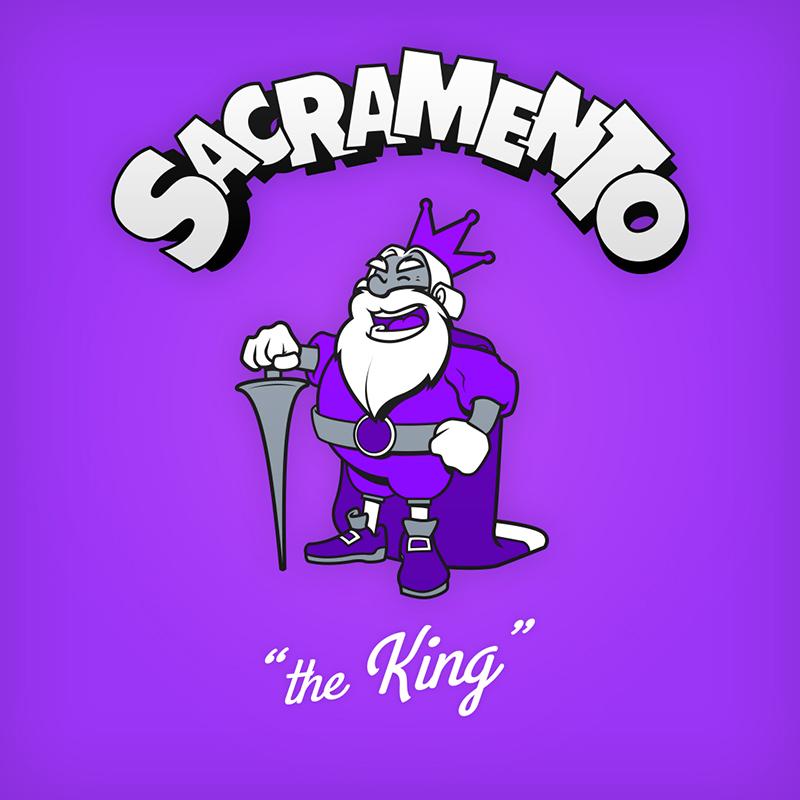 "Sacrament ""the King"" logo design as cartoon character"
