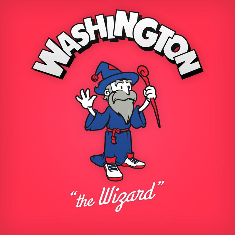 "Washington ""the Wizard"" logo design as cartoon character"