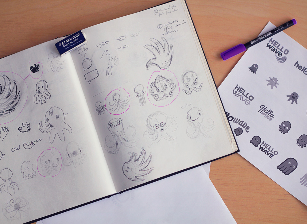 Sketches for Hellowave mascot