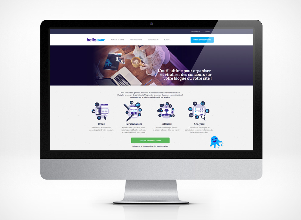 Homepage design for Hellowave