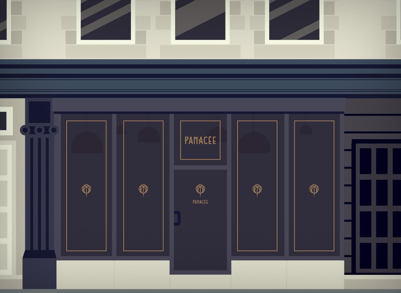 Mockups des visuels pour la devanture de Panacée