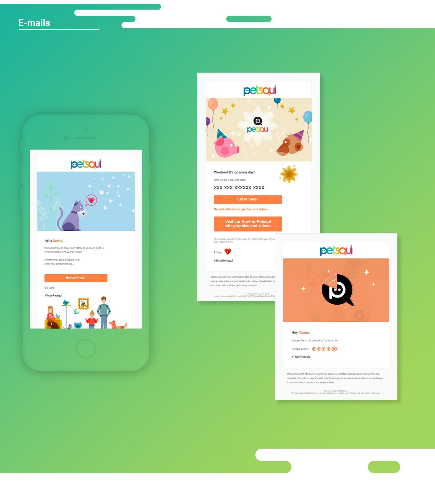 emails design for petsqui