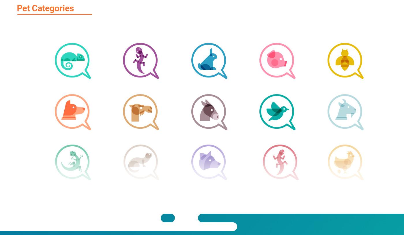 pet icons design for petsqui